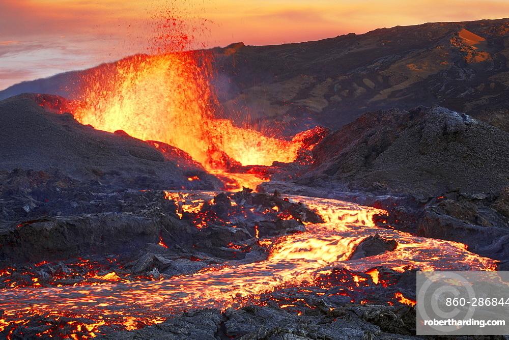 Piton de la Fournaise in activity, Volcano eruption 13 of september 2016, Reunion