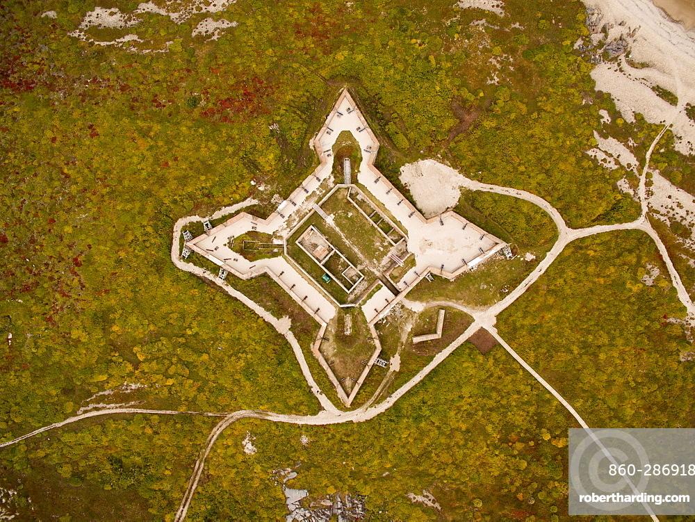 Aerial view of Prince of Wales Fort along coast of Hudson Bay, Churchill, Manitoba, Canada