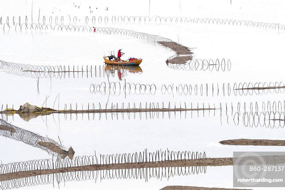 Fish catching, nets in open sea, Xiapu County, Fujiang Province, China