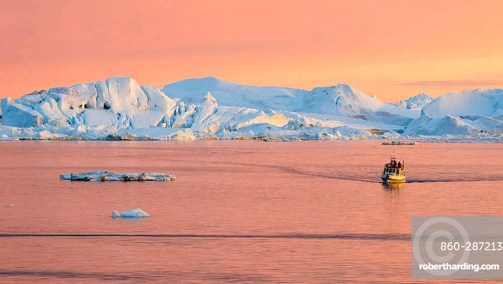 Tourist boat visiting the Ilulissat Biosphere Reserve, Greenland