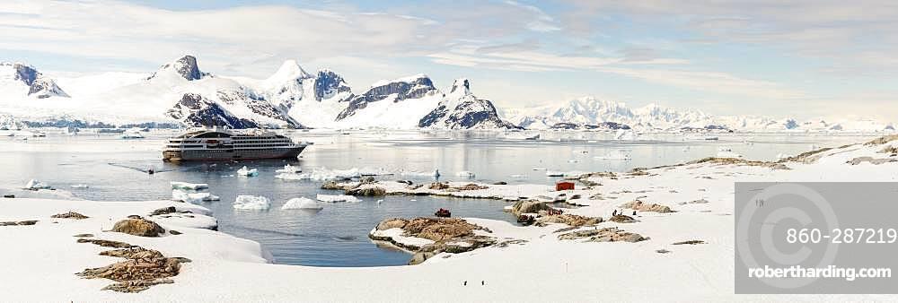 Landings of passengers on a cruise on Petermann Island, Antarctic Peninsula, Antarctica
