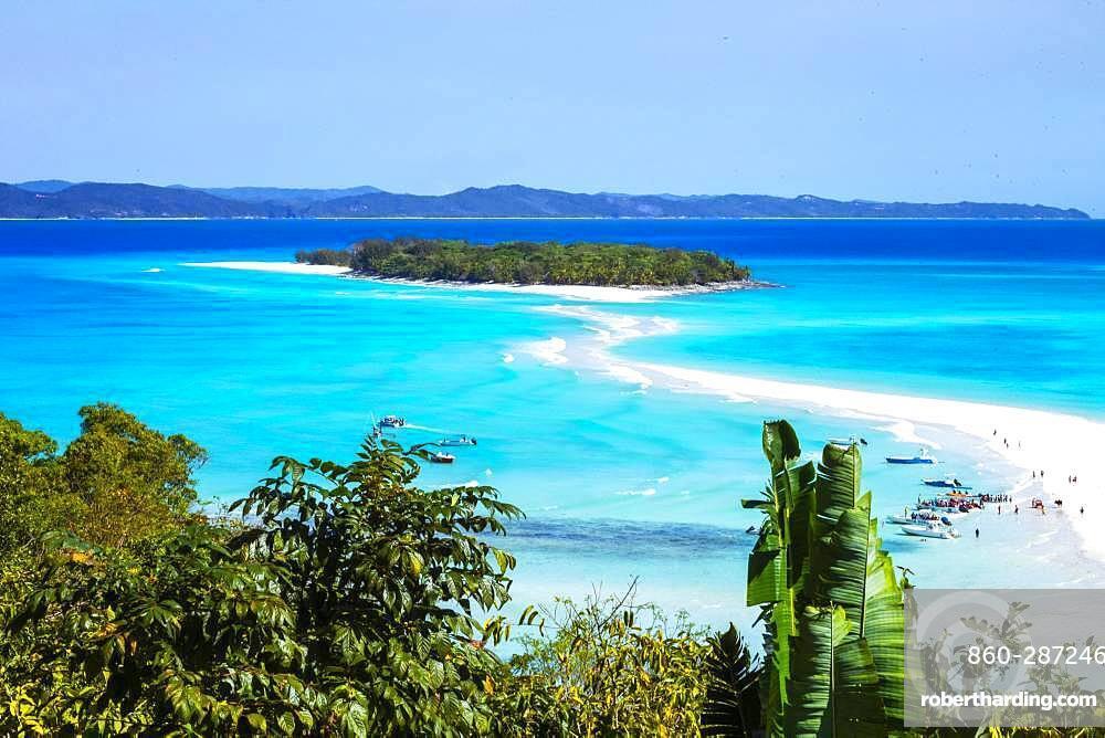 Sandbank linking two islands, Nosy Iranja, Nosy Be, Madagascar