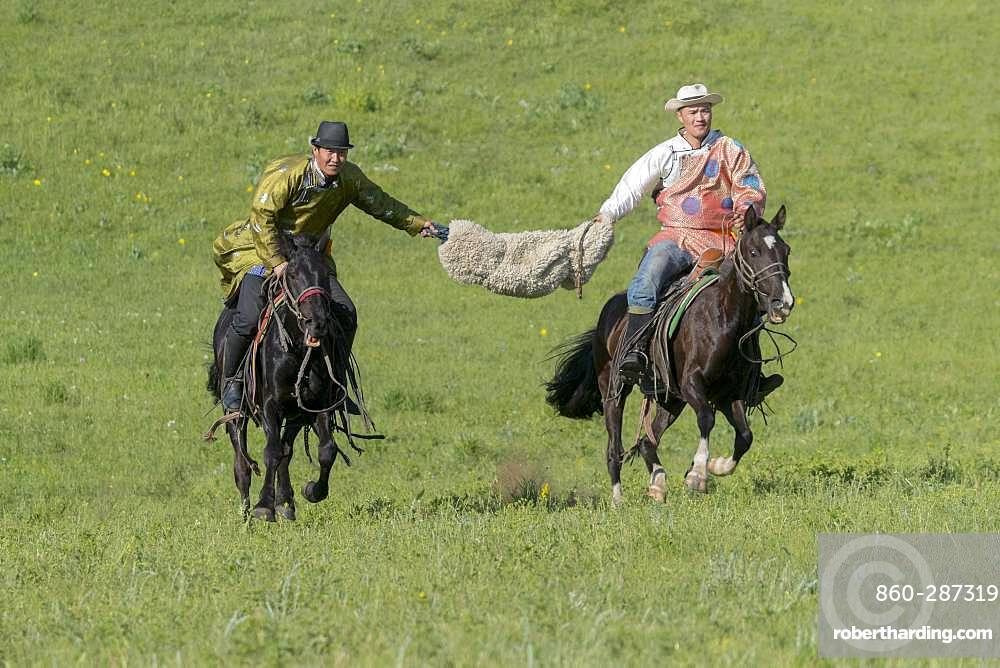 Mongolians traditionnaly dressed on a horse, traditional exercise of address, Bashang Grassland, Zhangjiakou, Hebei Province, Inner Mongolia, China