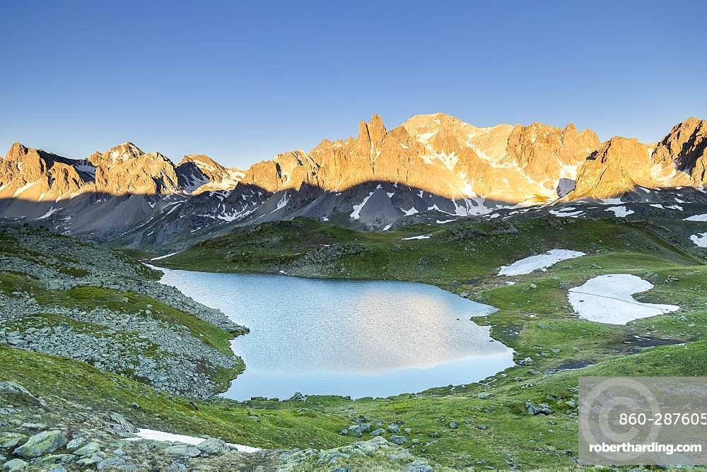 Vallee de La Claree, the Long Lake (2387m) with in the background the Cerces massif (3093m), Nevache, Hautes-Alpes, France