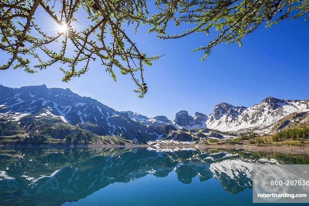 Reflections of Lake Tours on Lake Allos (2226 m), Haut-Verdon, Mercantour National Park, Alps, France