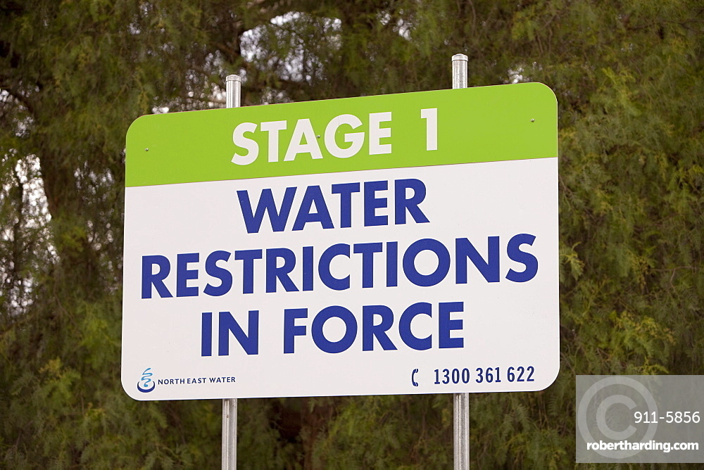 Sign about water restrictions near Echuca, Victoria, Australia, Pacific