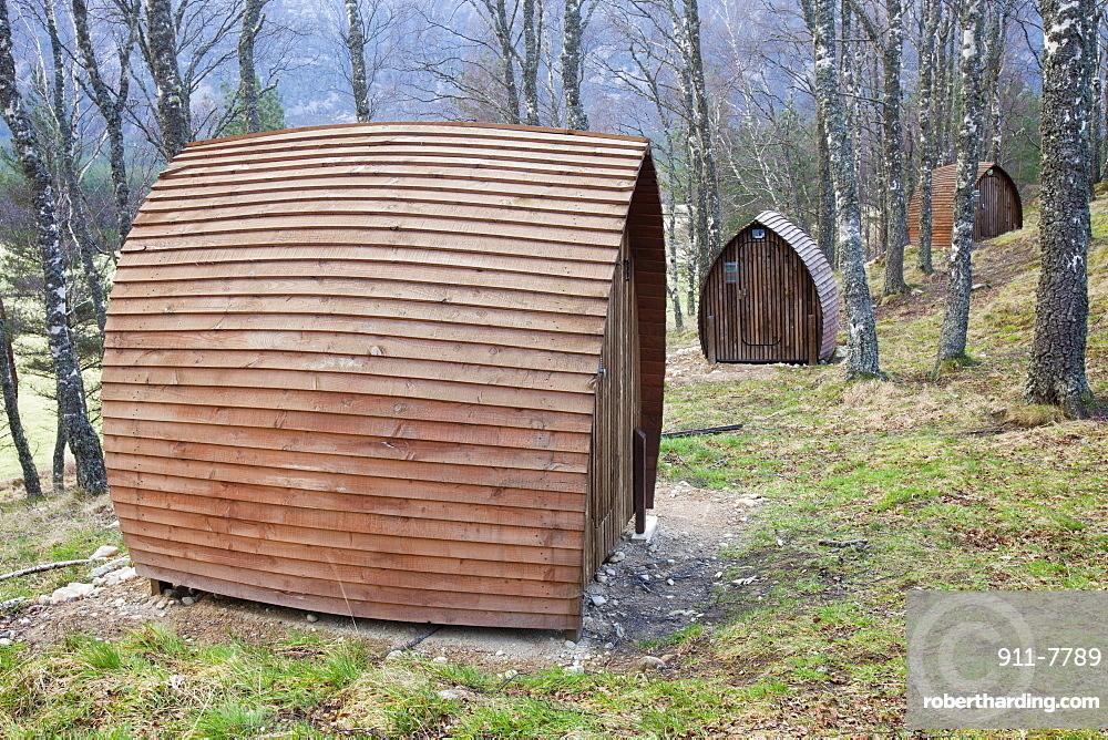 Camping pods powered by small solar panels at Lagganlia, Feshiebridge, Cairngorm, Scotland, United Kingdom, Europe