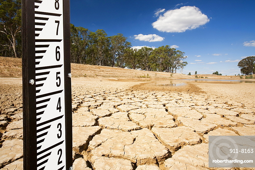 A farmer's watering hole, almost dried up, on a farm near Shepperton, Victoria, Australia, Pacific