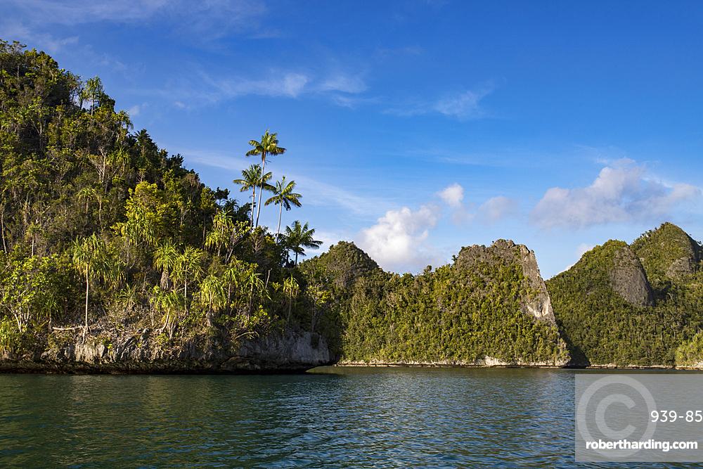 Karst limestone formations in Wayag Island, Raja Ampat, West Papua, Indonesia.