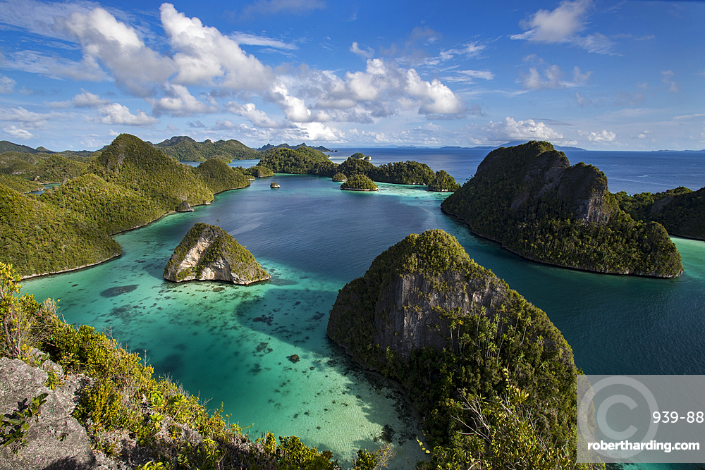 Aerial view of lagoon and karst limestone formations in Wayag Island, Raja Ampat, West Papua, Indonesia