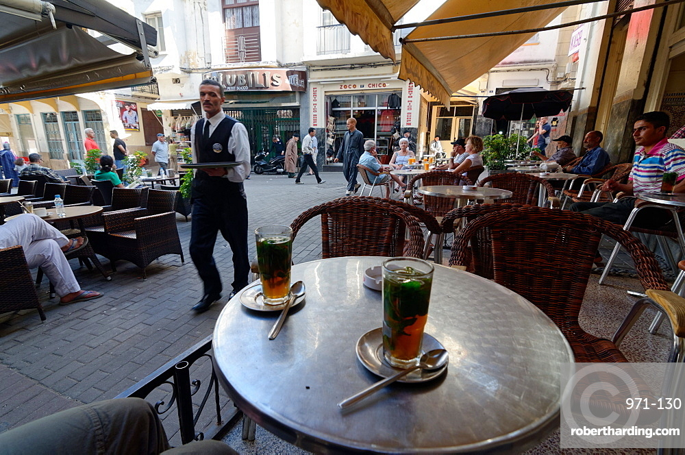 Mint tea served at the Cafe Tingis in the Petit Socco of the Medina or old city of Tangier, Morocco, North Africa, Africa