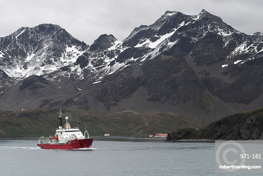 British Antarctic Survey's research vessel James Clark Ross leaving King Edward Point and Allardyce Range behind, South Georgia