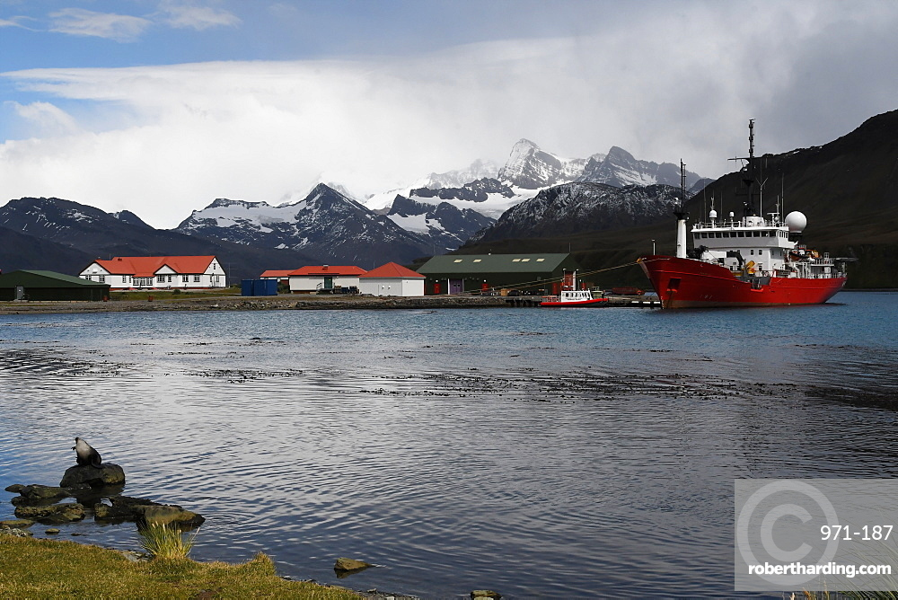 King Edward Point research station with fisheries patrol boat Pharos alongside at the jetty, South Georgia