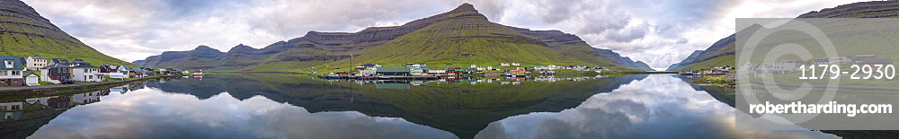 Panoramic of Hvannasund (Vidoy island) and Norddepil (Bordoy island), Faroe Islands, Denmark