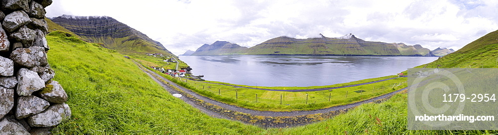 Panoramic of Kunoy Island, Nordoyar, Faroe Islands, Denmark, Europe