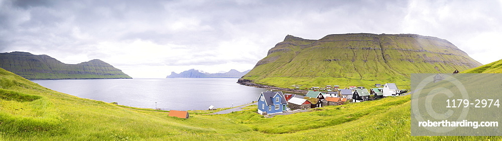 Panoramic of Elduvik, Eysturoy Island, Faroe Islands, Denmark, Europe
