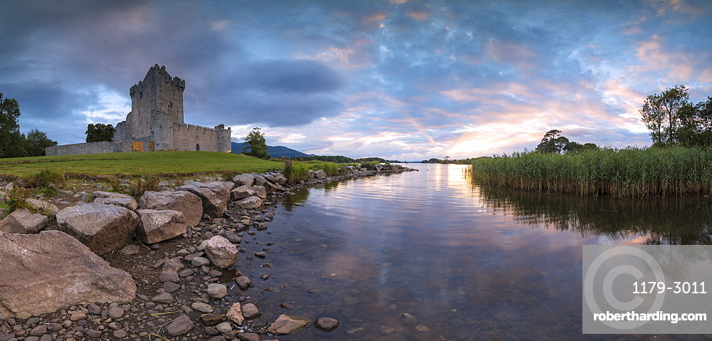 Panoramic of Ross Castle, Killarney National Park, County Kerry, Ireland