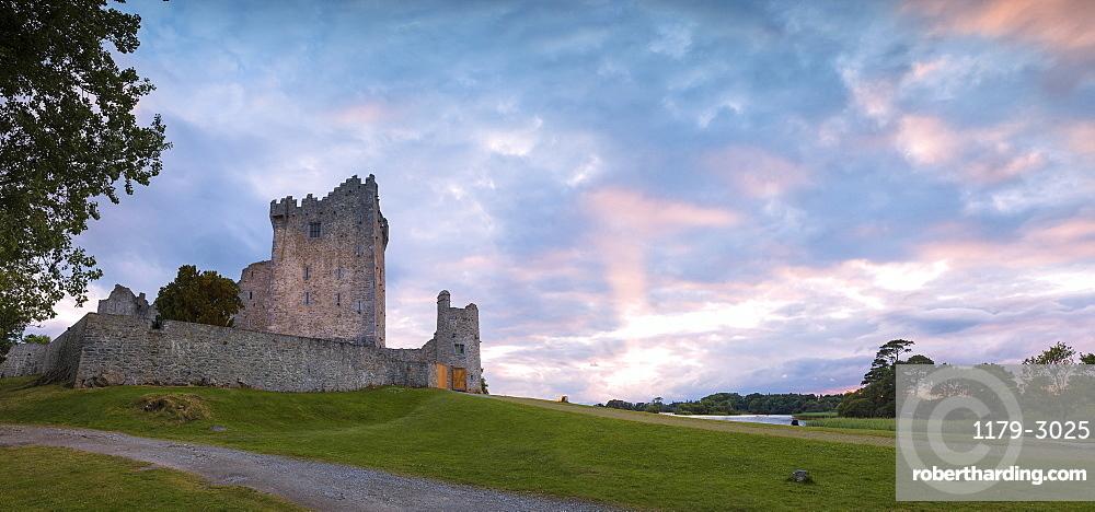 Panoramic of Ross Castle, Killarney National Park, County Kerry, Ireland