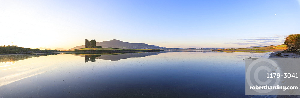 Panoramic of Ballycarbery Castle, Cahersiveen, County Kerry, Munster, Republic of Ireland, Europe