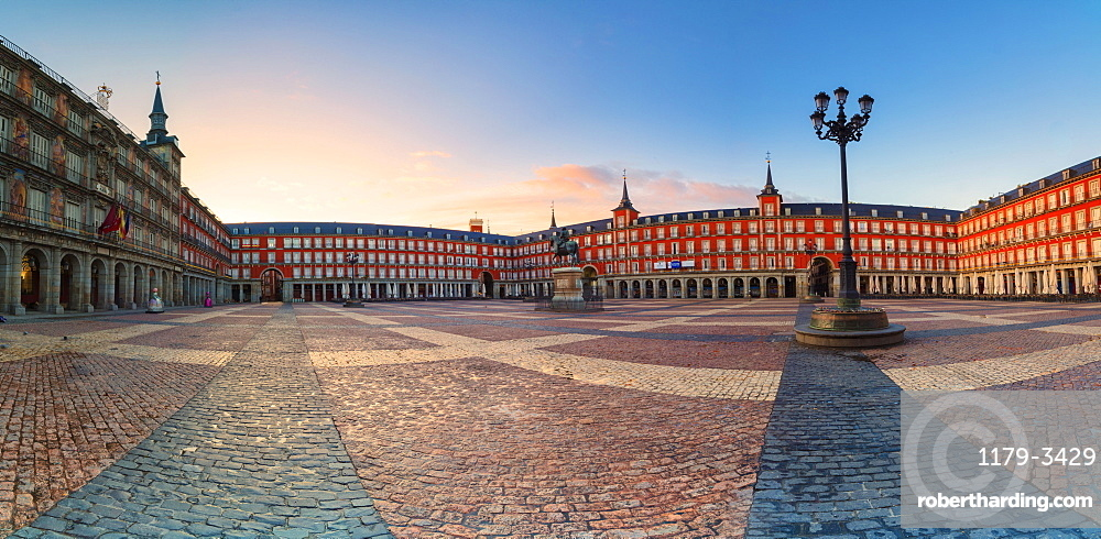 Panoramic of Plaza Mayor at sunrise, Madrid, Spain, Europe