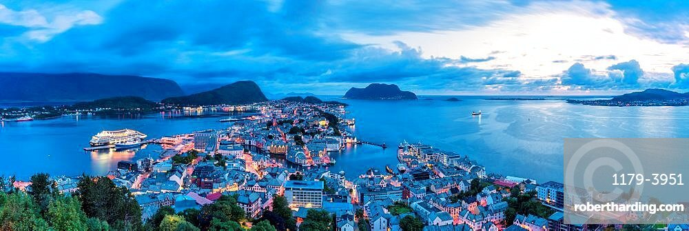 Panoramic of Alesund and ocean from Aksla mountain at night, More og Romsdal county, Norway