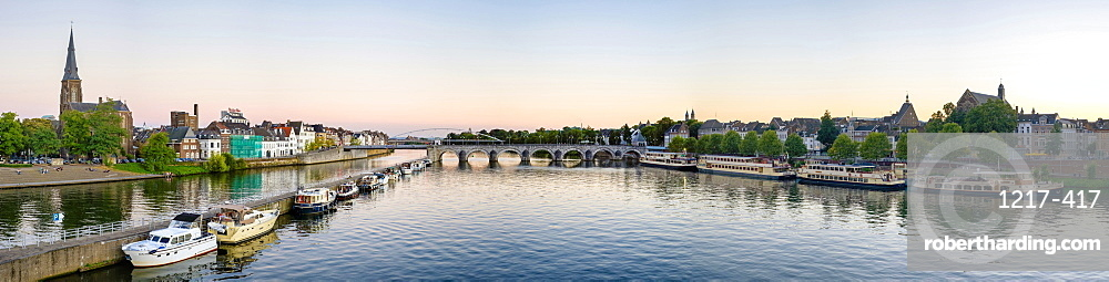 Panoramic view of the Meuse (Maas) River, Maastricht, Limburg, Netherlands, Europe