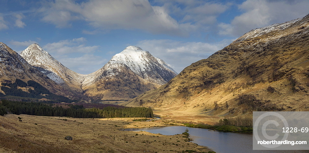 Glen Etive and Buachaille Etive Mor panorama, Highlands, Scotland, United Kingdom, Europe