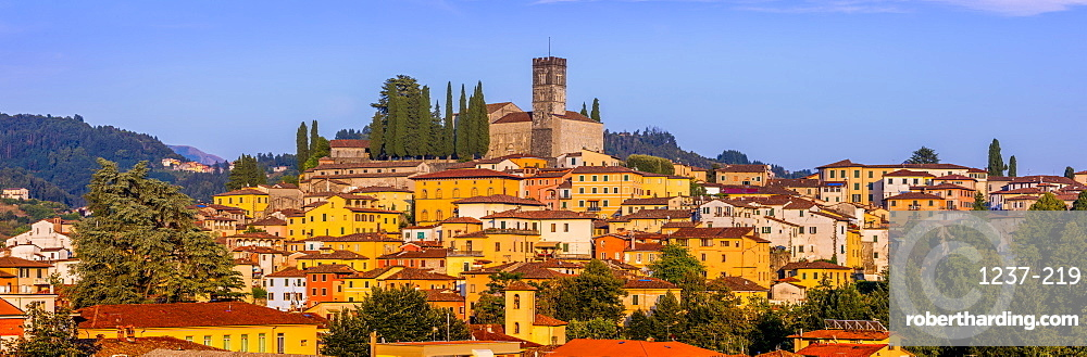Panoramic city skyline view of Barga, Tuscany, Italy, Europe