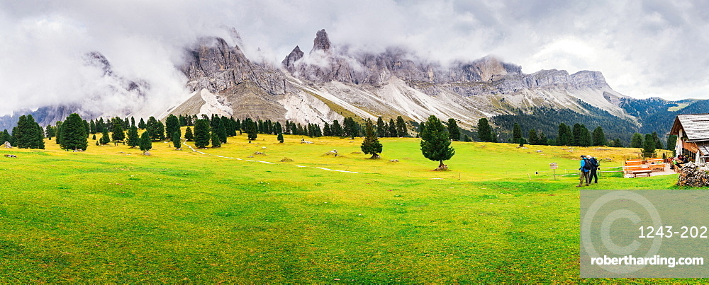 Hikers in summer in the South Tyrol-Alto Adige, Dolomites region of northern Italy, Europe