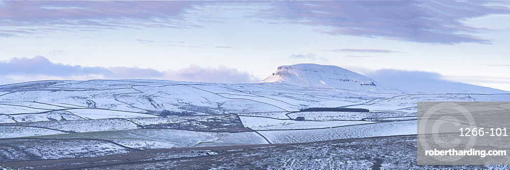 Snow covered Pen-y-ghent, one of the 'Three Peaks' photographed at sunset, Yorkshire Dales, UK