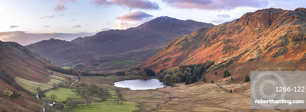 Stitched panoramic image showing sunrise at Blea Tarn in autumn, Lake District National Park, UNESCO World Heritage Site, Cumbria, England, United Kingdom, Europe