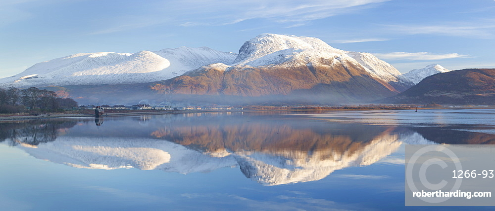 Snow capped Ben Nevis reflecting on the calm surface of Loch Linnhe at Corpach near Fort William, Highlands, Scotland, United Kingdom, Europe
