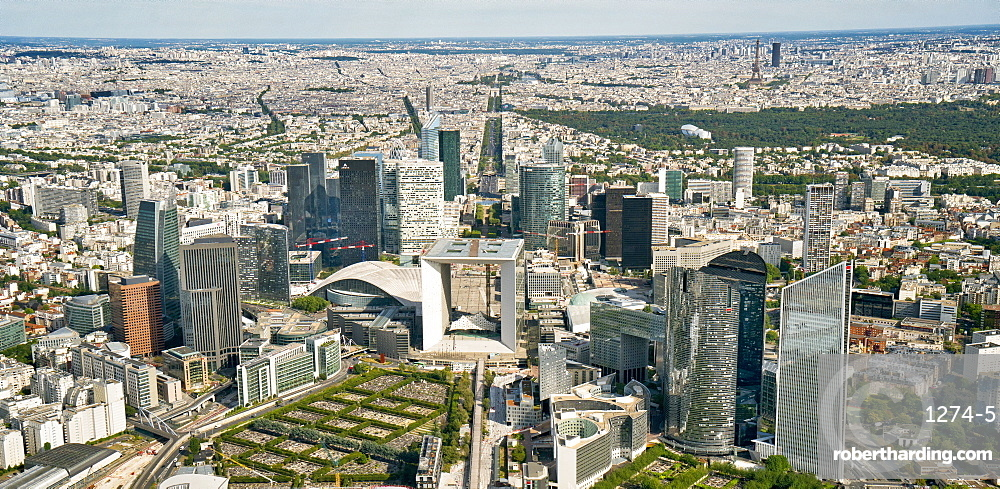 Aerial view of Financial District, La Defense, Paris, France, Europe