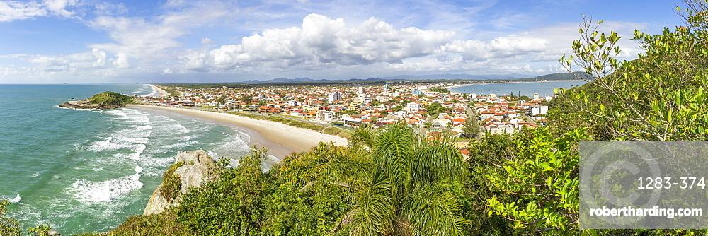 Elevated view over Saudade Beach, Sao Francisco do Sul, Santa Catarina, Brazil