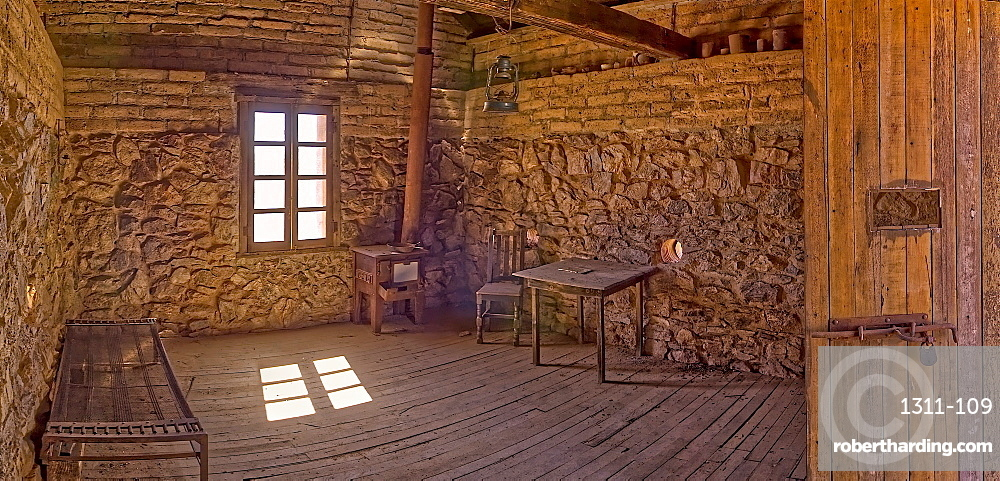 A panorama of the historic cabin of Henry Wickenburg, who founded the Arizona town with the same name in the late 1800s.