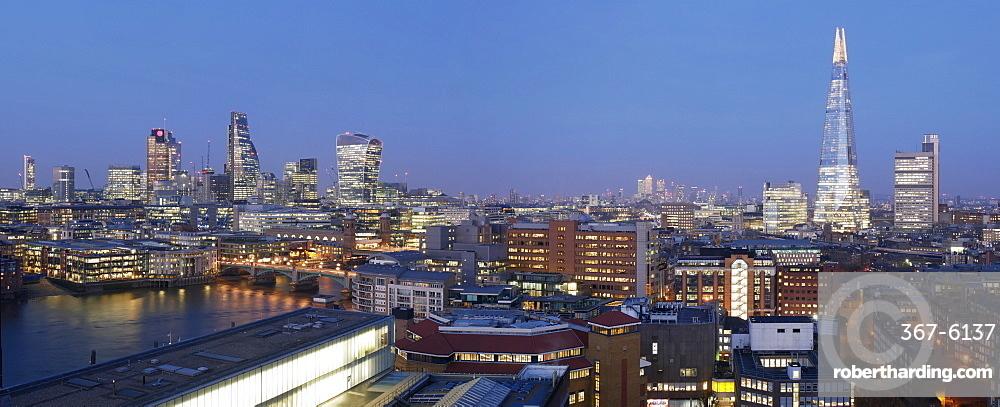 City Square Mile and Shard panorama at dusk, London, England, United Kingdom, Europe