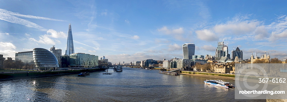 City of London and Shard Tower panorama from Tower Bridge, London, England, United Kingdom, Europe
