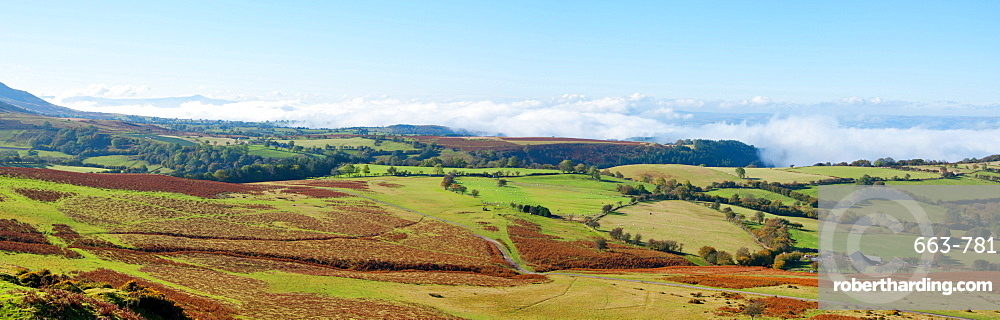 A panoramic landscape view near Hay Bluff, Powys, Wales, United Kingdom, Europe