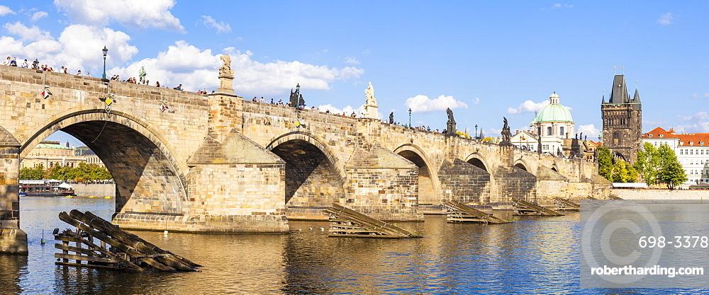 Prague Charles bridge with old town bridge tower and river Vltava, Prague, Czech republic, EU, Europe