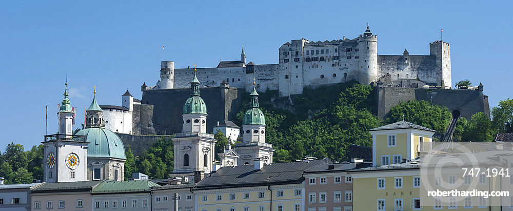 Rooftops, Cathedral twin towers, Citadel Castle, Salzburg, Austria, Europe, EU