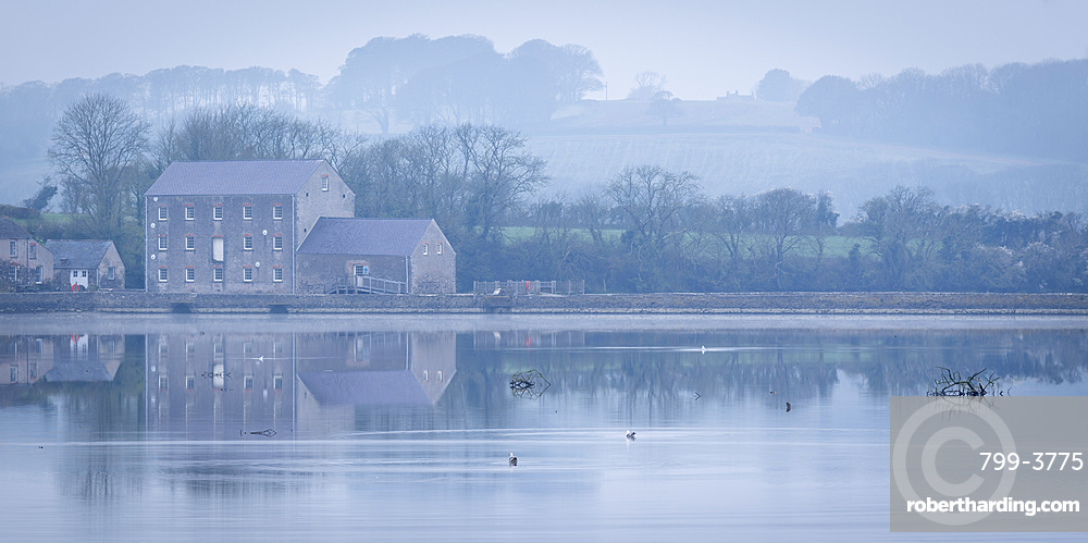 Carew Tidal Mill, on a misty Spring morning, Pembrokeshire, Wales, UK. Spring (March) 2019.