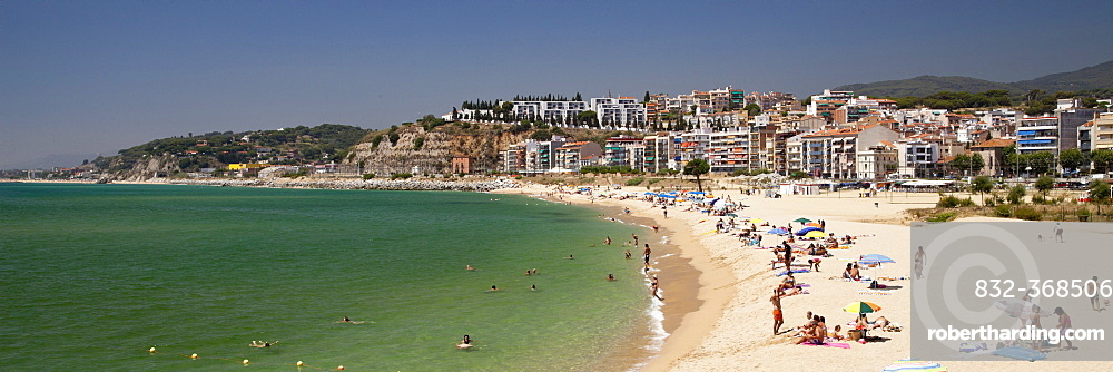 Beach and coast in front of the town of Arenys de Mar, Comarca Maresme, Costa del Maresme, Catalonia, Spain, Europe, PublicGround
