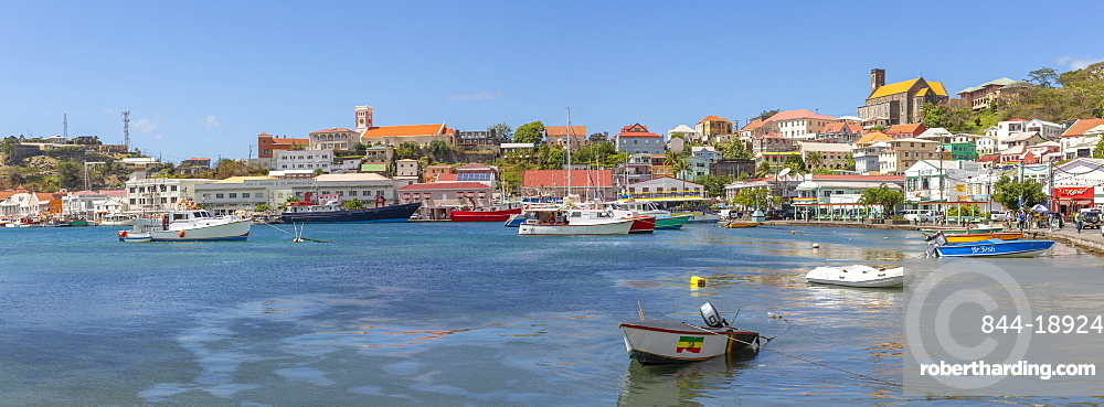 View over the Carnarge and Cathedral, St George's, Grenada, Windward Islands, West Indies, Caribbean, Central America