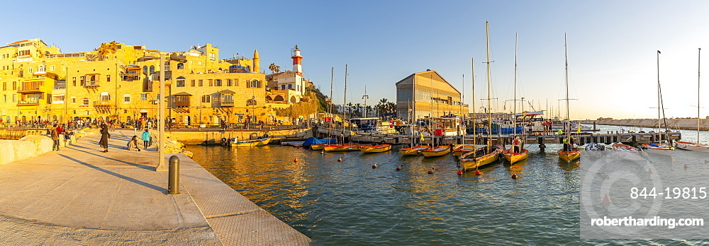 Panoramic view of Jaffa Old Town harbour at sunset, Tel Aviv, Israel, Middle East