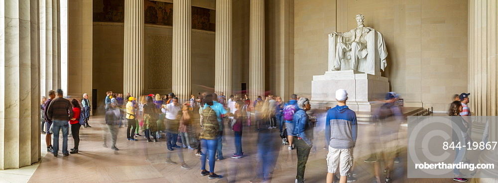 Panoramic view of visitors around the statue of Abraham Lincoln, Lincoln Memorial, Washington, D.C., United States of America, North America