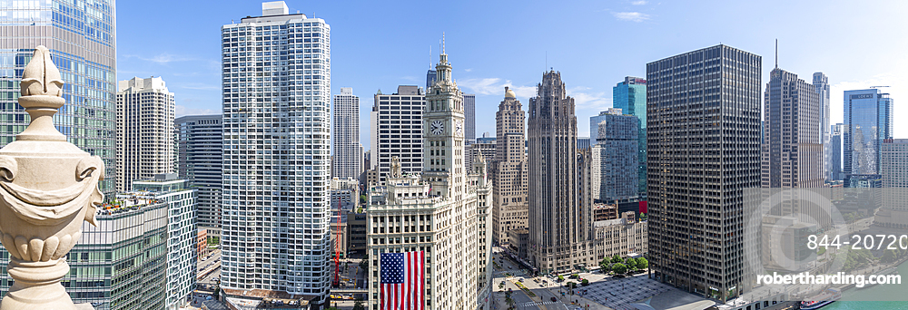 View of Wrigley Building from rooftop terrace, Downtown Chicago, Illinois, United States of America, North America