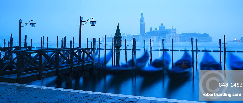 Gondolas on the waterfront of St. Mark's Basin at dawn, Venice, UNESCO World Heritage Site, Veneto Province, Italy, Europe