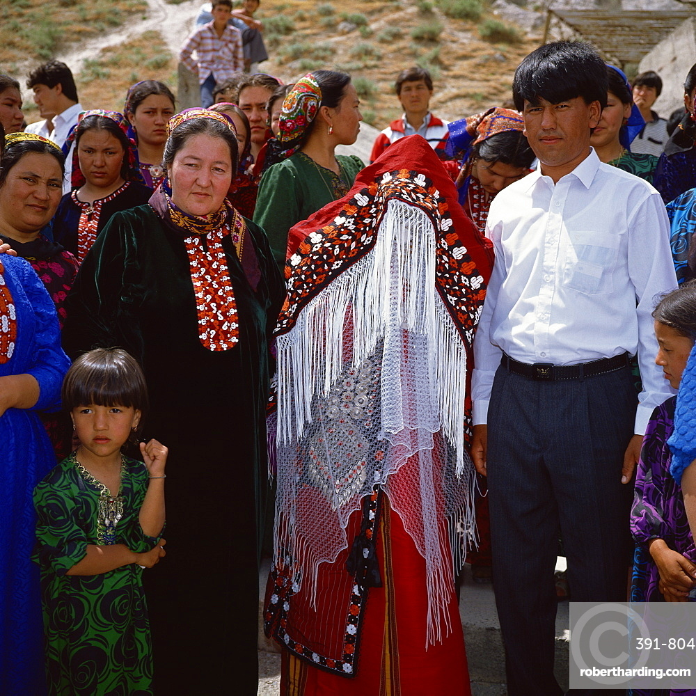 Bride and groom, Turkmen wedding party, Bakharden Cave, Turkmenia, Central Asia, Asia