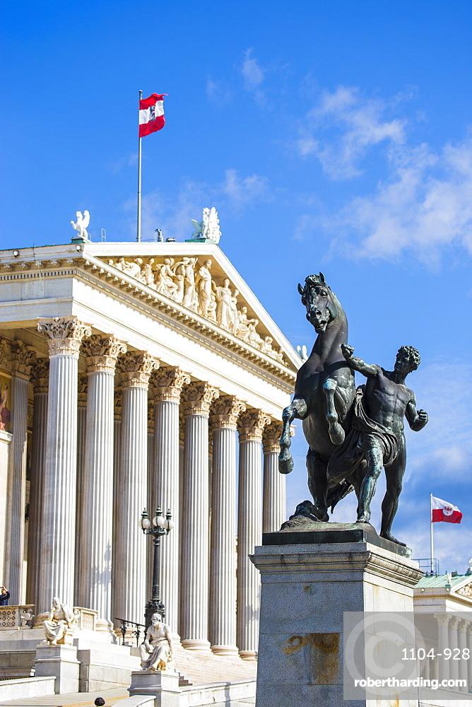 The Austrian Parliament building, Vienna, Austria, Europe