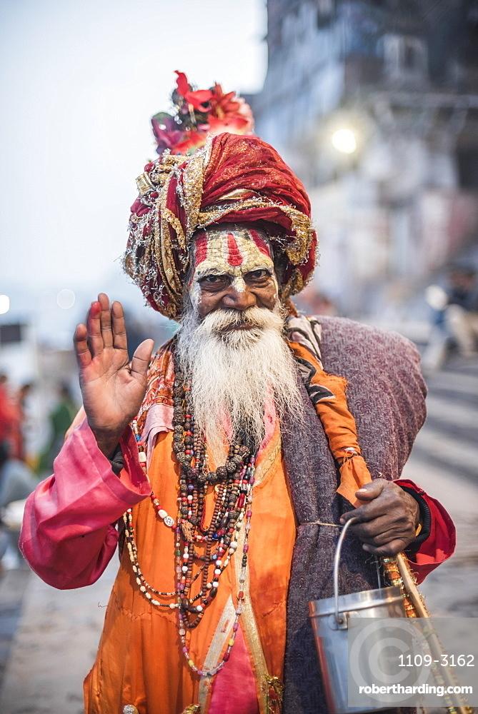 Sadhu (Indian Holy Man) in Varanasi, Uttar Pradesh, India, Asia